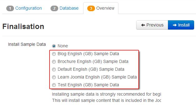 5 sample data in Joomla 3.0