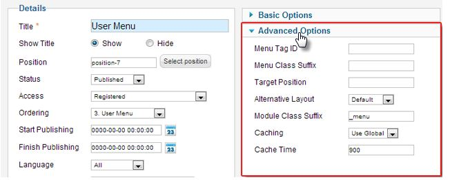 module settings in Joomla 2.5
