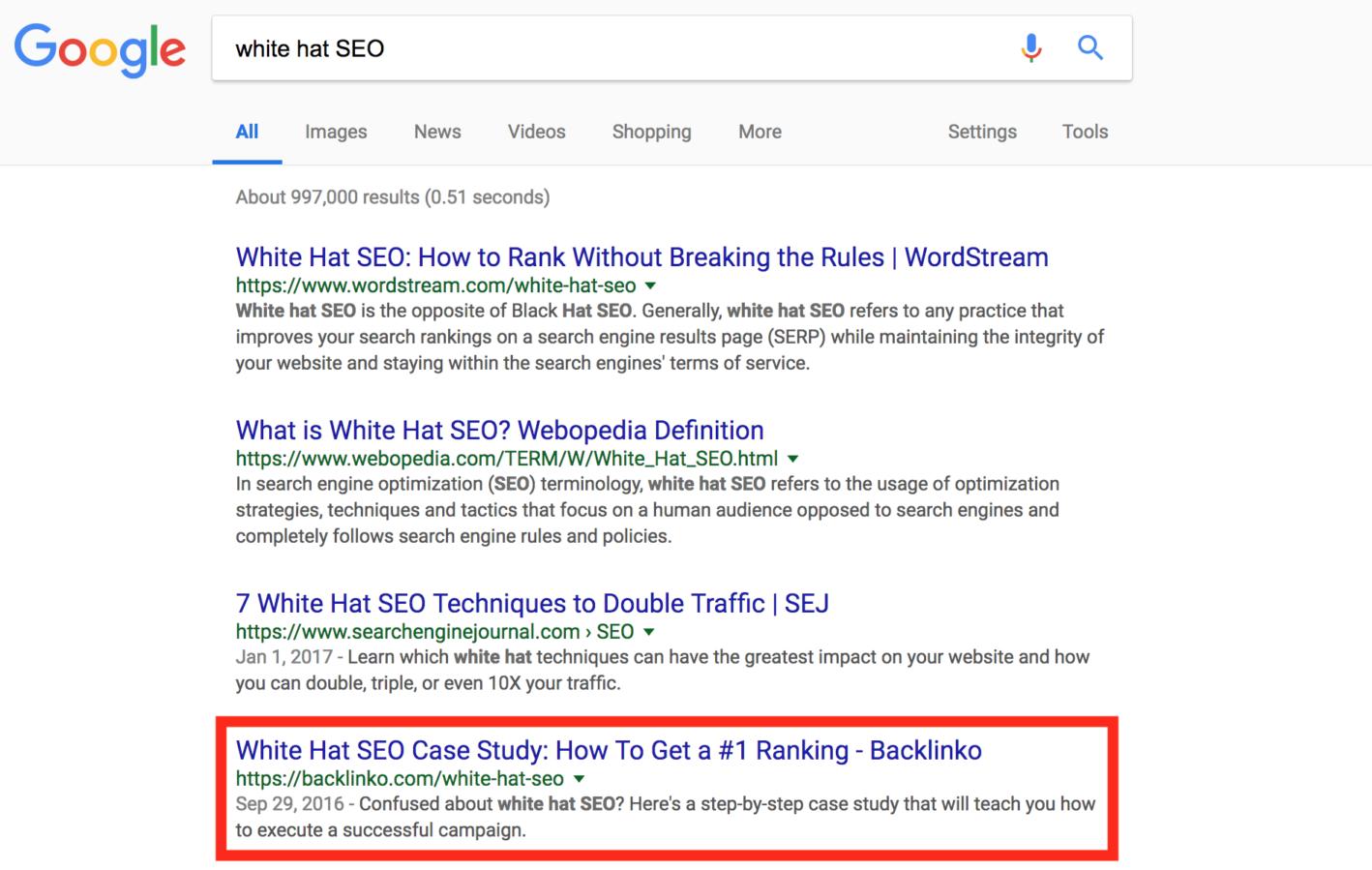 Page du site dans les résultats de recherche
