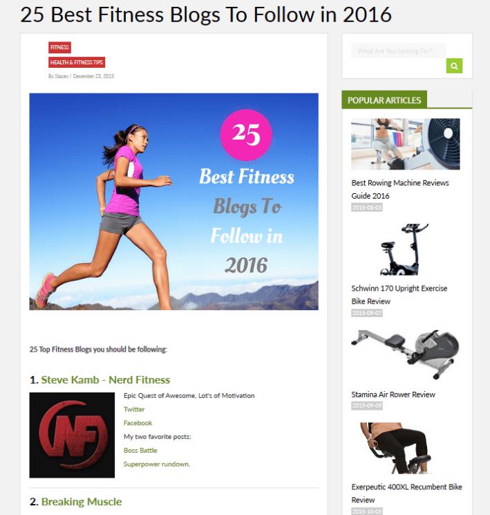 25 bons blogs de fitness