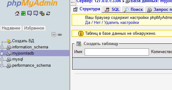 Созданная база данных