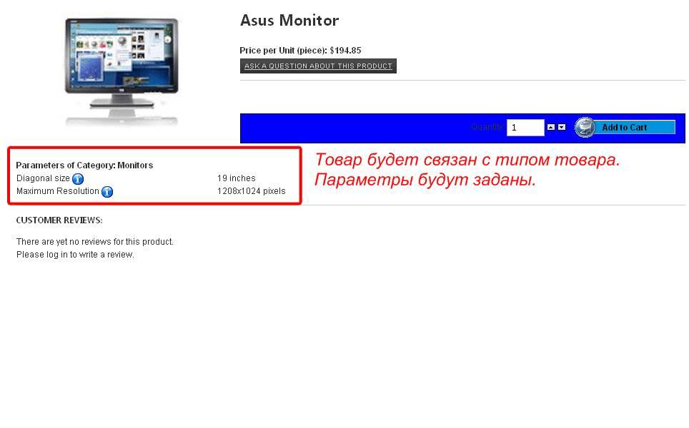 Рисунок 8 – Администрирование VirtueMart: Управление типами товаров – fly-страница товара, связанного с типом.